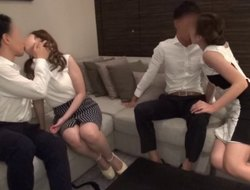 Sassy brunette humped roughly in a threesome to strong orgasm