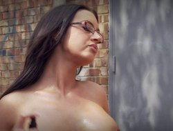 Immaculate overcast babe in glasses getting hammered doggy style doused
