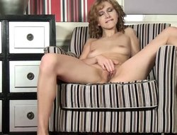 Frizzled skinny blonde in red lingerie rubbing their way off with