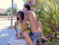 Hot Latina with a massive rack is humping in be passed on scenic route outside