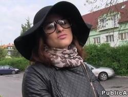 Czech beauty with big hot goods bangs open-air pov