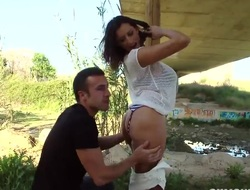 Heavy chested milf Sensual Jane gives fan outdoor