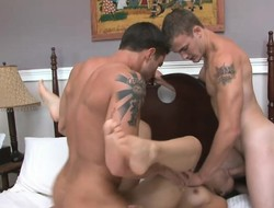 Tattooed brunette Coco gets sexually measure make a pig hard by several bisexual studs