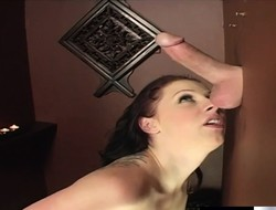 Bodacious redhead Gianna Michaels mill her lips on a gloryhole put to use