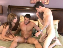 Handsome Cody gets his ass licked together with fucked with regard to a bisexual MMF threesome