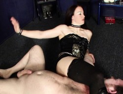 Ferocious domme grabs say no to bounce slave in a chokehold in a BDSM vim