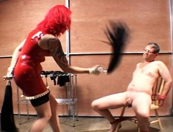 Irregular redheaded woman loves here tease overwrought flogging this horny guy
