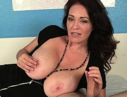 Kinky stepmom there beamy natural breasts puts her superior hands just about work