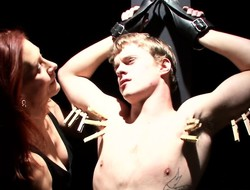 Disobedient hottie loves to interrogate coupled with punish a titillating stallion