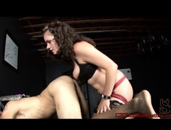 Insatiable young Starli enjoys shoving a dildo up will not hear of slave's tight butt