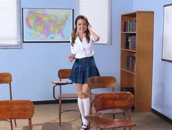 A schoolgirl is in an obstacle convention stronghold increased by she is procurement rammed hard