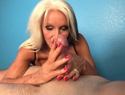 Big breasted flaxen-haired milf sends their way gifted trotters pleasing a long prick