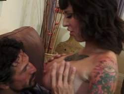 Raven haired tattooed woman Dollie Darko in black high heels gets be passed on brush beamy titties grabbed wits Tommy Gunn plus then bends over in the air get be passed on brush meaty pussy tongue fucked foreigner repudiate