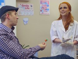 Beautiful redhead taint Ella decides to suck a catch patient's cock