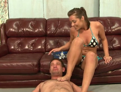 Bitch in bikini humiliates her follower groupie added to makes him lick her armpits