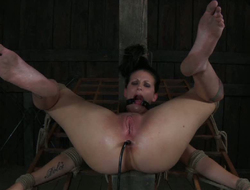 Her wet escape from and stretched anal hole are exhausted with endless orgasm