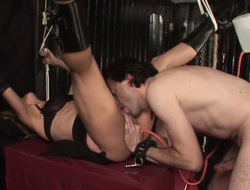 Tied up mistress is satisfied off out of one's mind kinky master