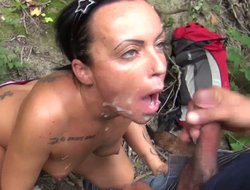 Two dudes fuck battle-axe in rub-down the wood and jizz on her outlook