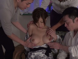 Attractive Japanese battle-axe Chihiro Akino gives hophead to four dudes
