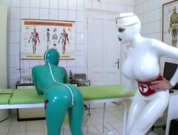 Unforgettable latex tribadic adventure upon get under one's hospital