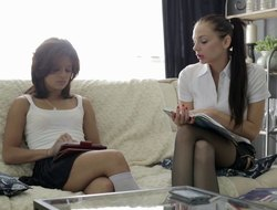 Two glamorous babes in stockings Sophia plus Anita having a threesome