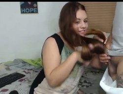 Long hair , Hair , Hairjob, Handjob
