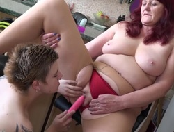 Teen of a female lesbian stick toy to old granny cunt