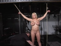 German ###girl Melanie Moons electro bdsm and zapped electric toy tortures of tied submissive in servitude