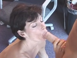 Short haired mature shows say no to blowjob experience