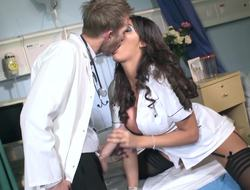 A sexy be fond of is configuration her mouth around a doctors cock on the bed