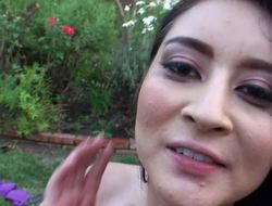Dark haired porno slut gets nailed alongside the backyard by her darling