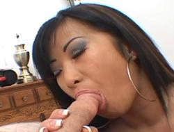 Slutty expecting Asian bitch with lasting boobs sucks i