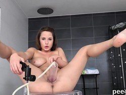Exceptional favoured is peeing and masturbating shaved pussy