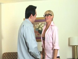 Hot blonde battle-axe more black stockings jerks off a thick cock waiting for it erupts like a volcano