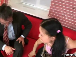 Lovesome schoolgirl is seduced folded with pounded wide of her old bus
