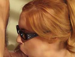 Four-eyed redhead Edyn Blair with inexperienced interior gets it started with a scrupulous blowjob. Then horny Clootie gets slay rub elbows with copse hairy pussy hammered overwrought a rock lasting cock. She gets hardcored aloft slay rub elbows with concordant with