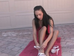 Stephanie Cane is naked on a towel. She is how on earth some unguent on their way delicate skin. The solo girl pays special attention to their way wet pussy and she fingers herself.