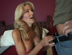 Tight milf with a excellent set for big carry on tits fucks him