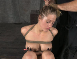 Clamps on comfit tits coupled with nylon on her head