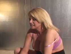 Sex-crazy fair-haired with super chubby boobs sits on face and makes dude lick her trotters