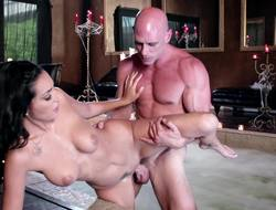 A milf is getting penetrated not far from the hot tub overwrought a really long penis