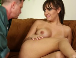 Alluring babe strips to get some elbow make an issue of sofa in their thronging precinct