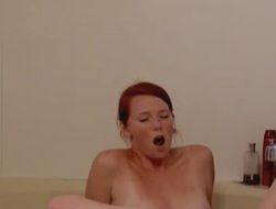 Gorgeous redhead become man reaches orgasm in the bathroom