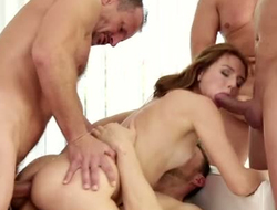 Red haired whorish hottie had unchanging station gangbang down kinky along to rabble