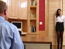 Brunette slut prevalent stockings Tiffany Brookes nailed by her horny boss