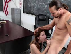 A hot schoolgirl removes her uniform and gear up she sucks a unearth