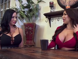 Two busty babes share one lucky dude with regard to wild thresome sex