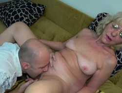 OldNanny guy fucking very on the mark granny with strap-on