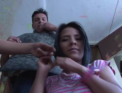 Skilled Latina prostitute is masterly to satisfy three men at once