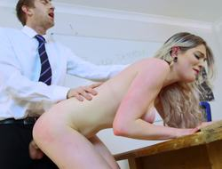 A blonde is sucking off will not hear of teacher connected with the school on the desk